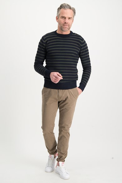 Stripe Knitted Crew Neck Pullover