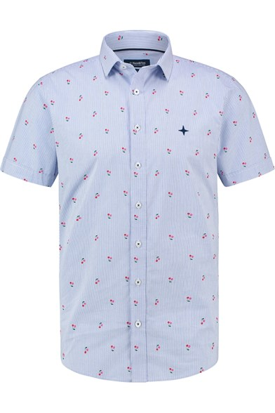 Italian Fit Cherry Stripe Print Short Sleeve Stretch Shirt