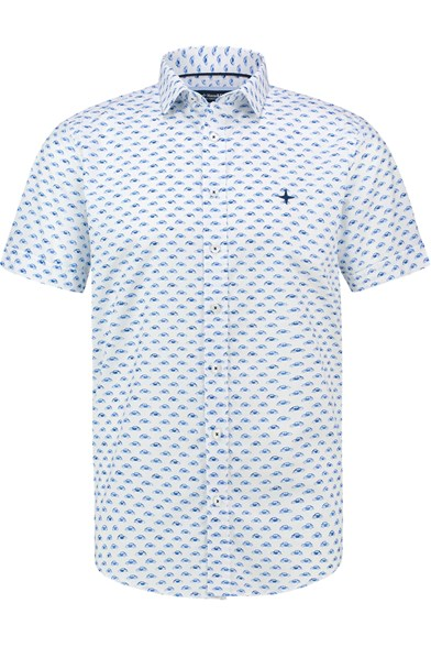 Italian Fit Beetle Print Short Sleeve Stretch Shirt