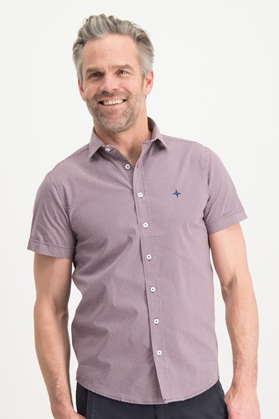 Italian Fit Polka Print Short Sleeve Stretch Shirt