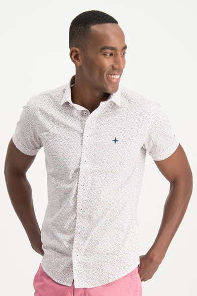 Italian Fit Sparkle Print Short Sleeve Stretch Shirt