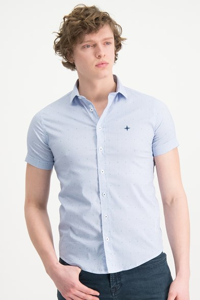 Italian Fit Stripe Fiesta Print Short Sleeve Stretch Shirt