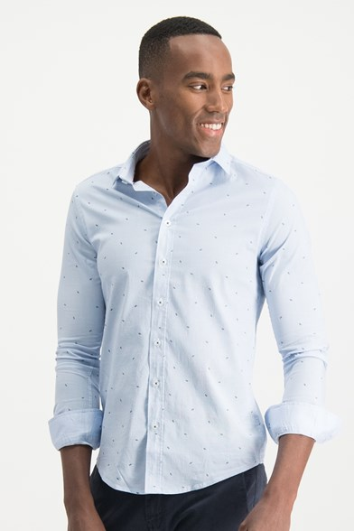 Italian Fit Pencil Print Stretch Shirt