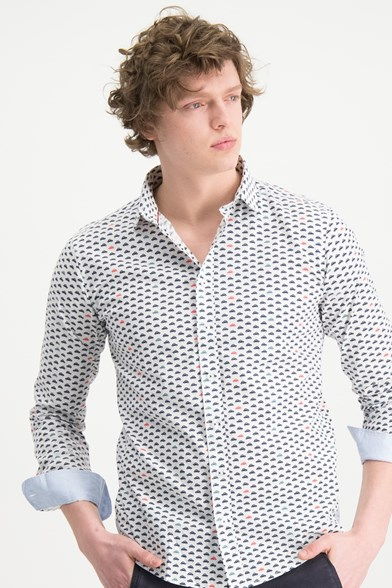 Italian Fit Traffic Jam Print Stretch Shirt