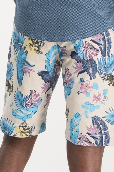 Regular Fit Casual Jungle Print Stretch Short